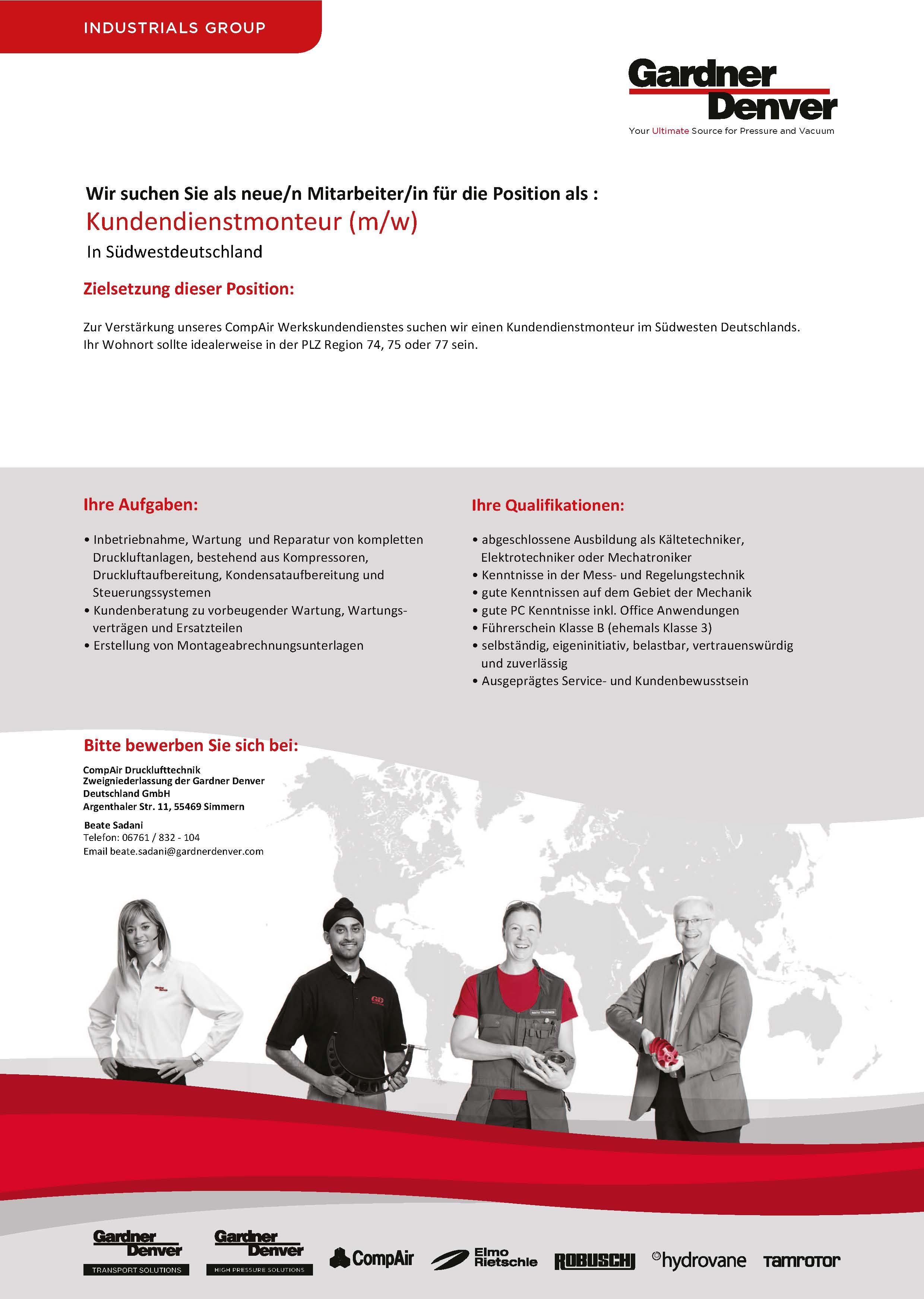 Kundendienstmonteur für Druckluftsysteme Südwestdeutschland