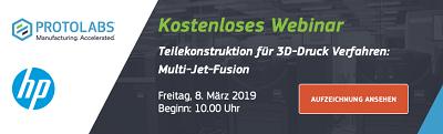 Neue Webinar-Aufzeichnung verfügbar! Teilekonstruktion für 3D-Druck Verfahren: Multi-Jet-Fusion