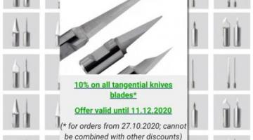 Offer: 10% on all tangential knife blades