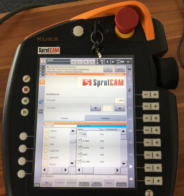 Optimierte Roboteroberfläche zum Fräsen mit SprutCAM.