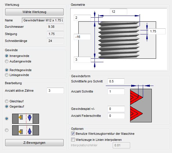 Herstellung von Gewinden mit vectorcam