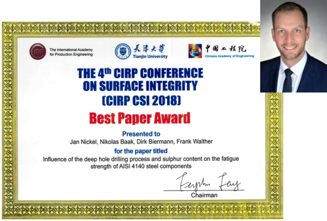 Best Paper Award der 4th CIRP Conference on Surface Integrity (CIRP CSI 2018) in Tianjin, China