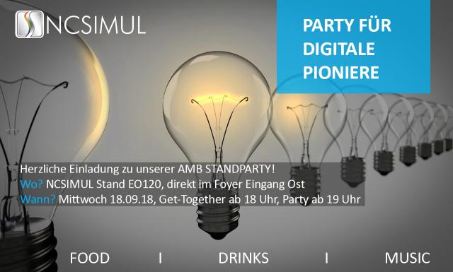 AMB 2018: Party für digitale Pioniere am 19.09. auf dem NCSIMUL Stand