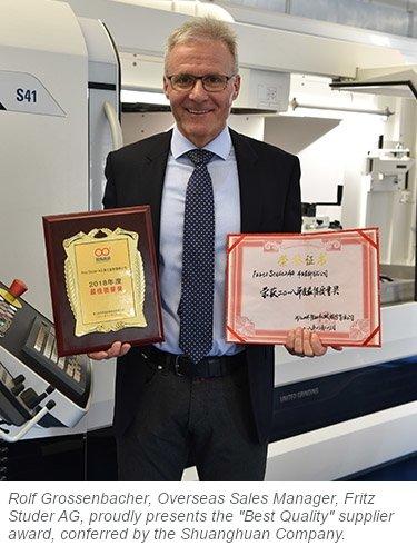 STUDER wins supplier award for