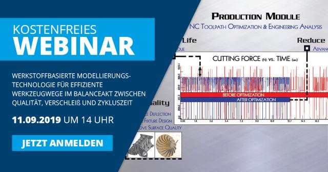 Kostenfreies Webinar: Werkstoffbasierte Modellierungstechnologie für effiziente Werkzeugwege