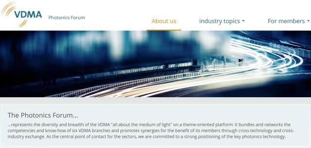 New VDMA-Homepage of the Photonics Forum