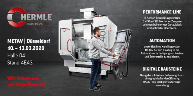 Flexibles Handlingsystem und jede Menge Digitaler Bausteine am Hermle Messestand auf der METAV 2020!