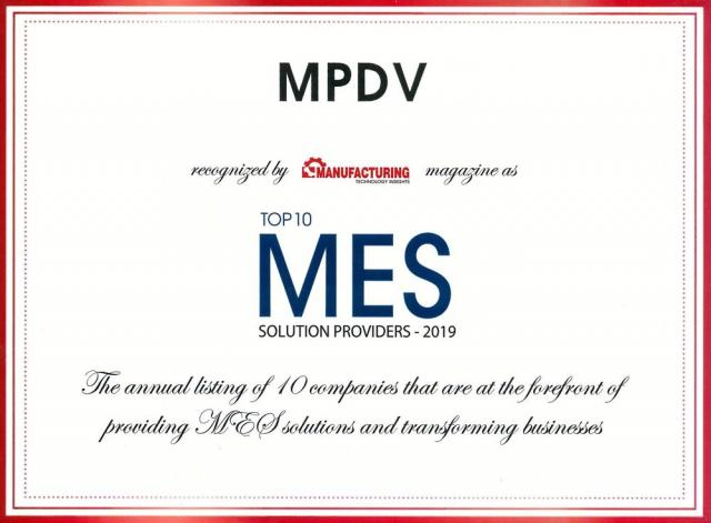 MPDV once again awarded Top 10 MES Solution Provider. MPDV USA is still on the road to success