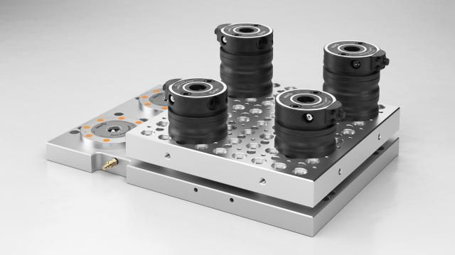 Sensationspreise bei AMF: Raster-Aufspann-Palette für den flexiblen Aufbau des Nullpunktspannsystems