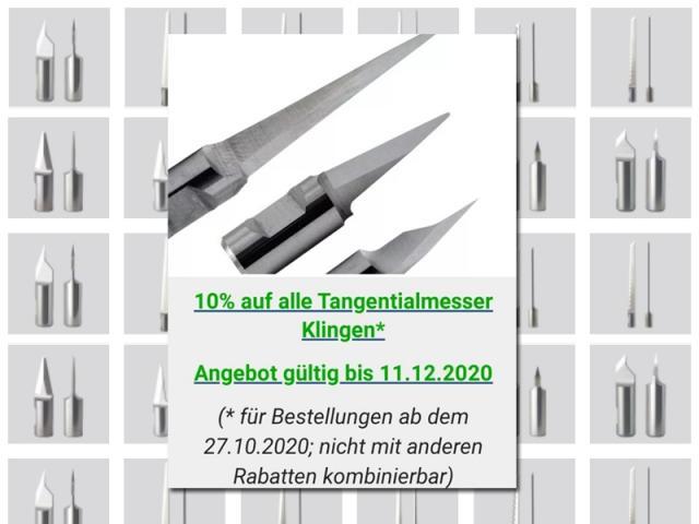 Angebot: 10% auf alle Tangentialmesser Klingen