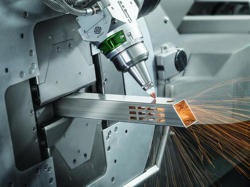 """The LT7 works in 2D or 3D, tubes from 12mm to 152mm (0.47"""" to 5.98"""") in diameter, lengths of 6.5 or 8.5 meters (21.3' to 27.9'). The 3kW fiber laser source ensures an extremely broad field of use in terms of materials and thicknesses that can be processed. Soft steel, stainless steel, aluminium, copper and brass are cut with, once again, surprising speed. An unmatched system in productivity and efficiency. The cutting technology has evolved with new devices and sensors that adapt each process to the conditions of the material in order to always maintain the highest cutting speed."""