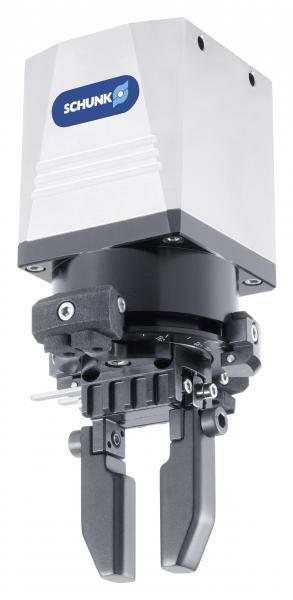 Die weltweit kompakteste elektrische Greif-Schwenkeinheit SCHUNK EGS gibt es ab sofort auch in Baugröße 40 für mittlere Bauteilgewichte bis 0,55 kg. Bild: SCHUNK