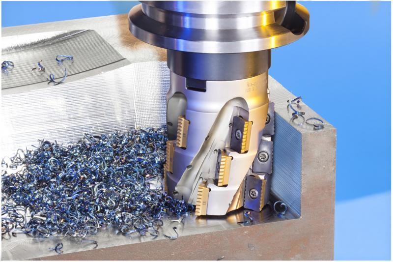 Die wendelförmige Schneidkante der MILLSHRED P290-Schneidplatten sorgt für eine sehr gute Spanabfuhr.