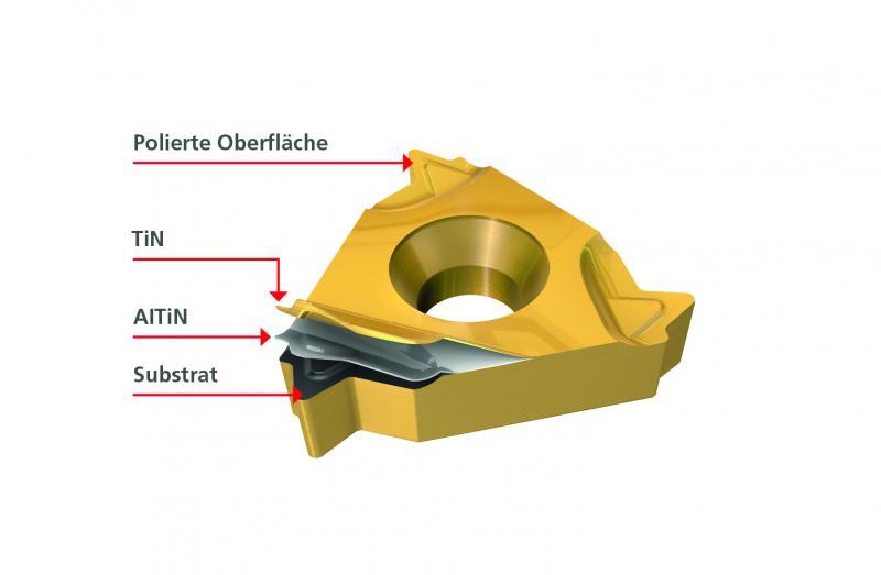 Die Wendeschneidplatten besitzen eine polierte Oberfläche. Dadurch bilden sich keine Aufbauschneiden. IC1007 ist hoch hitzebeständig und reduziert den Verschleiß von Freiflächen.