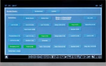 Vom Touchscreen in der Eingangshalle können alle Statusmeldungen des Gebäudes abgerufen und verwaltet werden. Alle Systeme, von der HLK über die Beleuchtung und die Fassade bis zur Medientechnik und den Sicherheitssystemen sind in der zentralen Steuerungsplattform integriert.