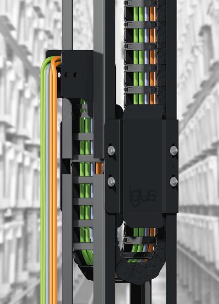 Die Führungsrinne GLV sorgt für eine sichere Energiezuführung bei vertikalen Anwendungen wie zum Beispiel in Hochregalen.