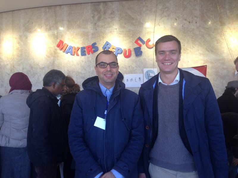 Dr. Helmi Ben Rejeb und Dr.-Ing. Tobias Redlich auf der Makers Republic in Tunis