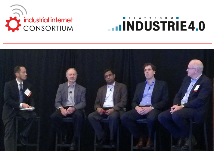 Stefan Lölkes (second from the right), PhD, CSO of MPDV USA Inc., at the panel discussion during the IIoT World Tour
