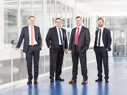 Die Geschäftsleitung STUDER und SCHAUDT MIKROSA (v.l.n.r.): Jens Bleher (CEO), Stephan Stoll (COO), Daniel Huber (CTO), Sandro Bottazzo (CSO)