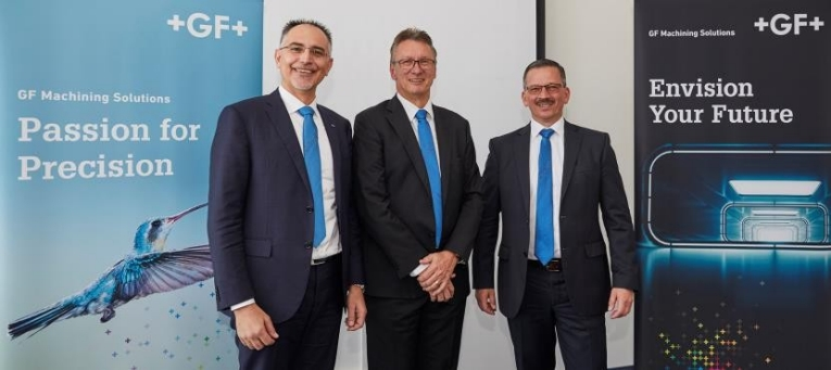 Welcoming guests at GF Solutions Days Europe 2018 were (left to right) Antonio Faccio, Head of Market Region Europe and South America; Pascal Boillat, President, GF Machining Solutions; and Christian Jung, Managing Director GF Machining Solutions Germany.