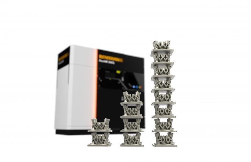 Imagen de producción del bloque de galvos en la máquina RenAM 500Q con distinto número de láseres durante una semana.