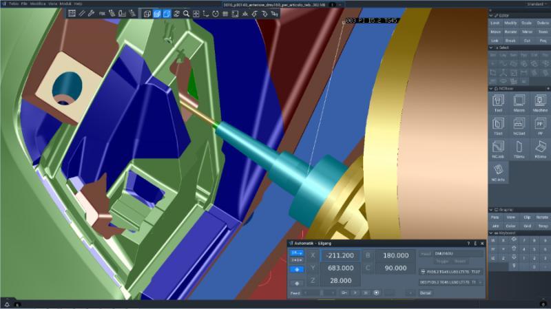Bearbeitung eines Formeinsatzes mit Tebis V4.0 R2: Simulation mittels Maschinensimulation in einem Bohrzyklus.