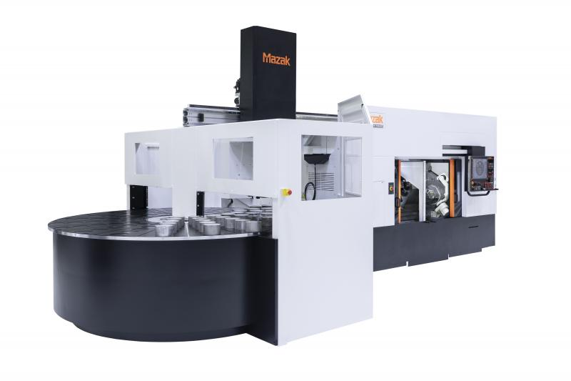 Multiplex W-200Y mit dem eigens von Mazak in Deutschland entwickelten Rundschalttisch. Er bietet eine um 144% gesteigerte Teile-Kapazität im Vergleich zum Standard-Speicher.