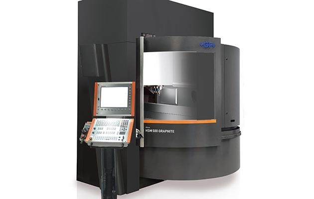 GF Machining Solutions' Mikron HSM 500 GRAPHITE is configured specifically for machining graphite electrodes, with Step-Tec's new 42,000 rpm HVC140 Spindle, integrated System 3R WorkPartner 1+ (WPT1+), and integrated dust exhaust.