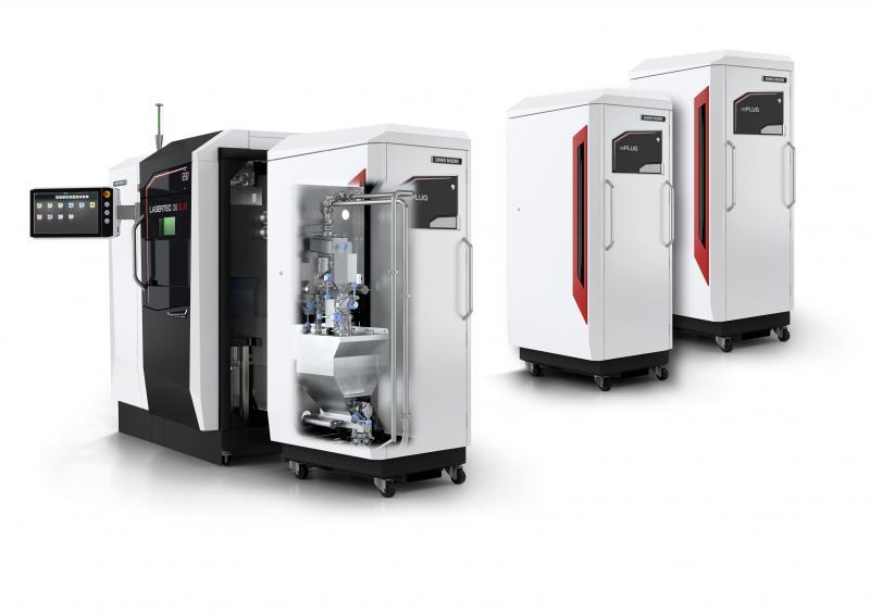 ADDITIVE MANUFACTURING: Das flexible Pulvermodul rePLUG der LASERTEC 30 SLM 2nd Generation ermöglicht einen Materialwechsel in weniger als zwei Stunden.