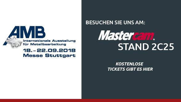Erleben Sie die Welt des Maschinenbaus  Mit 1.469 Ausstellern und knapp 90.000 Besuchern hat die AMB 2016 als Branchenleitmesse in den geraden Jahren voll überzeugt. Sie behauptete ihren Spitzenplatz unter den internationalen Messen der Metallbearbeitung und gehört zu den Top 5 weltweit. Freuen Sie sich schon heute auf die AMB 2018 – die vom 18. bis 22. September 2018 auf dem Stuttgarter Messegelände stattfindet.  Auf der AMB trifft sich das Who-is-who der Werkzeugmaschinenbau- und Präzisionswerkzeugbranche sowie führende Experten der spanabhebenden Metallbearbeitung.  Besuchen Sie uns am Mastercam Stand 2C25.  Kostenlose Tickets können Sie gleich HIER unkompliziert anfordern.