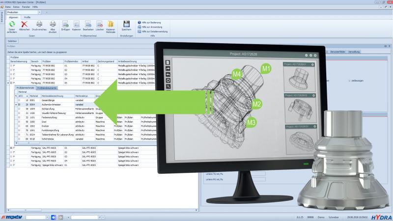 Einfache Übernahme von Merkmalen aus der CAD-Zeichnung in den Prüfplan im MES HYDRA
