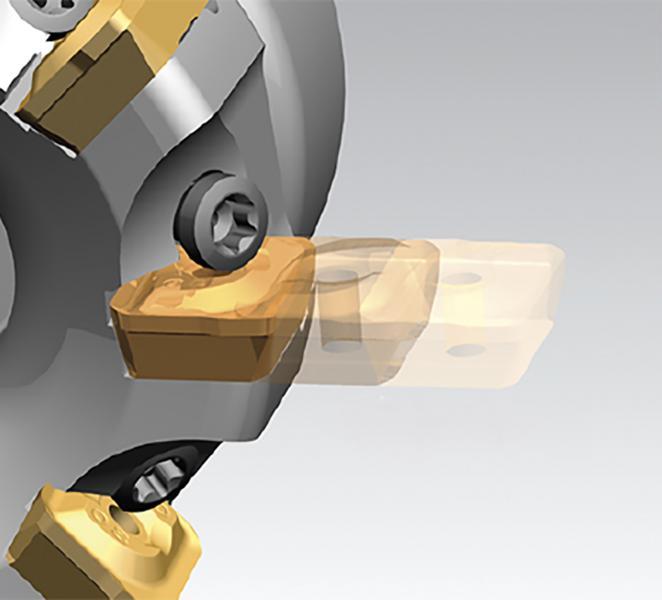 Sicher eingeklemmt: Das patentierte SideLok-Klemmsystem von Pramet beschleunigt das Wenden und den Austausch der Wendeschneidplatten, da die Klemmschrauben nicht komplett gelöst werden müssen.