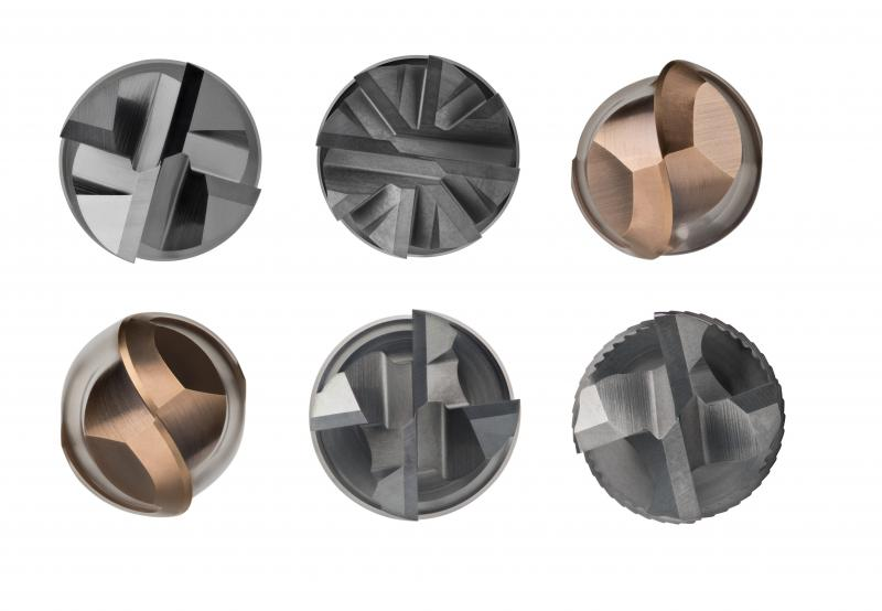 The front cutting edge view of Dormer Pramet's S2 program of solid carbide milling cutters.