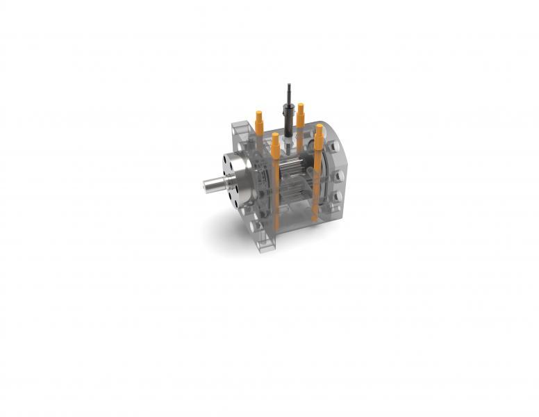 Edelstahl Chemiedosierpumpe der Größe 4,7-22-22 mit elektrischer Beheizung und einer mögliche Fördermenge von 1,2 bis 12 l/min.