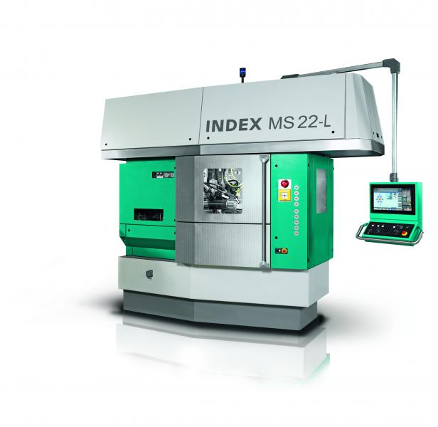INDEX MS22-L the first multi-spindle automatic lathe worldwide, which enables to machine long-turned parts simultaneously with 6 spindles and two tool carriers per spindle bearing.