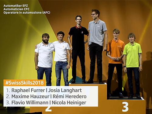 Erreichten den 1. Platz an den SwissSkills 2018: Automatik-Lernende EFZ Josia Langhart von der Fritz Studer AG in Steffisburg und Raffael Furrer vom AZM Langenthal.
