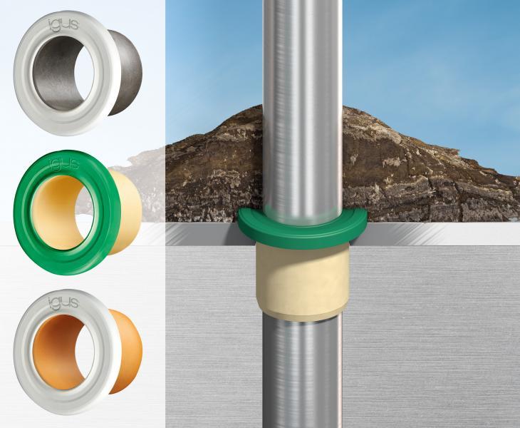 Einfach auf den Bund gesetzt schützen die neuen Dichtungsringe iglidur Gleitlager und dahinterliegende Bauteile vor dem Eindringen von extremen Verschmutzungen.