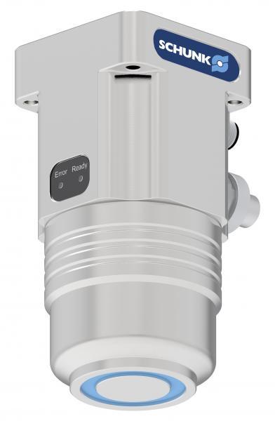 Dank 24V-Technologie und integrierter Elektronik lässt sich der kompakte SCHUNK Magnetgreifer EMH besonders einfach in Betrieb nehmen und ansteuern. Er ermöglicht eine störkonturfreie und flexible Handhabung ferromagnetischer Werkstücke.  Bild: SCHUNK
