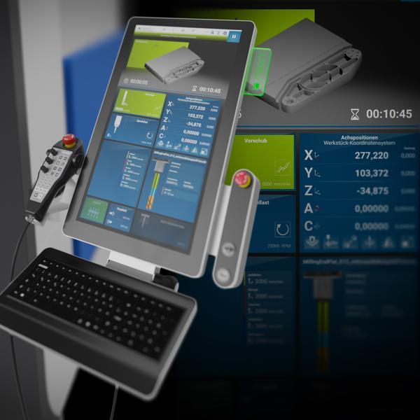 Schon von Weitem erkennt man die leuchtenden Terminals an den DATRON Fräsmaschinen. Das moderne Kacheldesign der DATRON next Steuerung, basierend auf dem Plug and Play Prinzip, besticht durch funktionales Software Design und setzt neue Maßstäbe in der CNC-Fräsindustrie.
