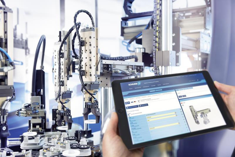 SCHUNK rapidly expands its digital tools: With the configurators for gripper/swivel units and for modular assembly automation, users can significantly reduce their design and assembly costs. Photo: SCHUNK