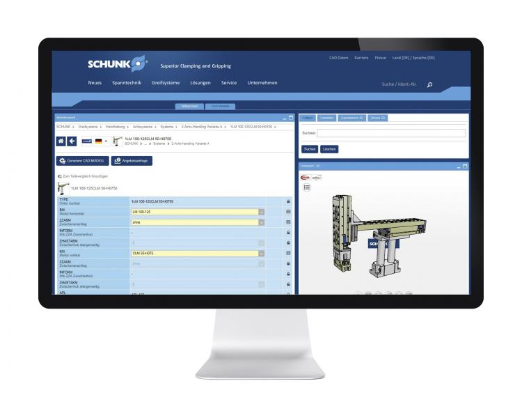 In the SCHUNK online configurator assembly automation, entire Pick & Place systems can be implemented, loaded as assemblies into the CAD program and parts lists generated as order references. All components are available as intelligent 3D-CAD models. Photo: SCHUNK
