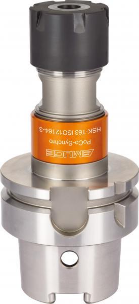 Die spezielle Spannzangenaufnahme PoCo-Synchro mit HSK-T ermöglicht mit ihrer reduzierten Toleranz in Kombination mit PoCo-Bush Winkelgenauigkeiten von kleiner 5°.