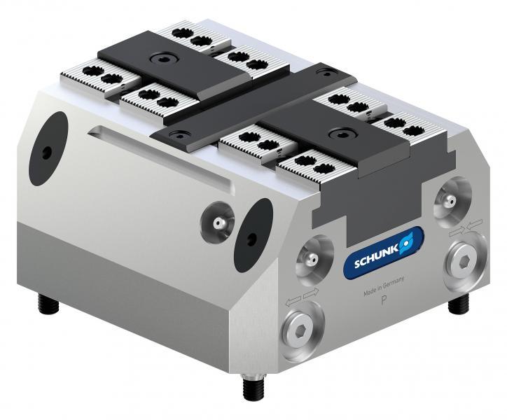 Die kompakten SCHUNK TANDEM plus 140 Kraftspannblöcke sind speziell auf die automatisierte Maschinenbeladung per Roboter zugeschnitten. Bild: SCHUNK
