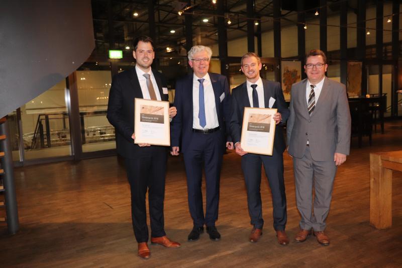 v.l.n.r.: Tim Mittler, Dr. Michael Köhler (Vorsitzender des Industrieausschusses), Thomas Greß, Michael Sander (Geschäftsführer des Deutschen Kupferinstituts)