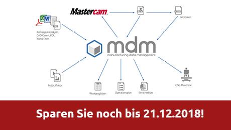 Mit dieser speziell auf Mastercam abgestimmten PDM-Software lassen sich alle für die Fertigung relevanten Dokumente effizient und intelligent archivieren.  Sparen Sie noch bis 21.12.2018 bei der mdm-Promo!