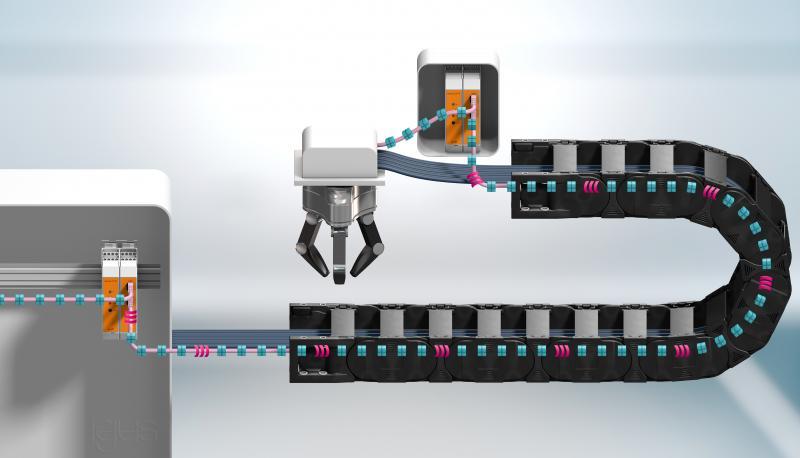 Intelligente Leitungsüberwachung in der Smart Factory: Das CF.D System von igus informiert rechtzeitig bei Veränderungen der Übertragungseigenschaften von Busleitungen.