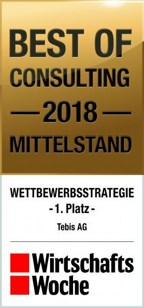 """WirtschaftsWoche Qualitätssiegel 1. Platz """"Best of Consulting Mittelstand 2018"""" in der Kategorie """"Wettbewerbsstrategie"""""""