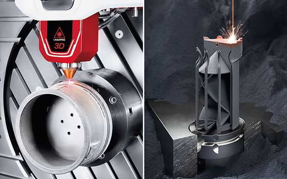 Das DMG MORI Portfolio umfasst vier vollständige Prozessketten für additive Verfahren mit der Pulverdüse und im Pulverbett.