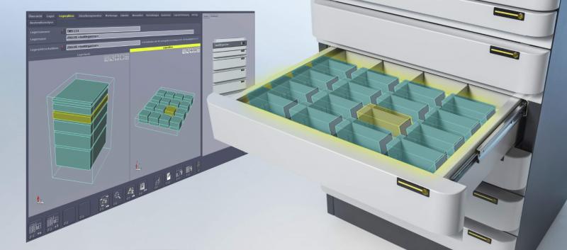 Der Lagerort jedes Werkzeugs im »toolOrganizer« ist in der Software hinterlegt und kann visualisiert werden. Das vereinfacht das Auffinden des Werkzeugs