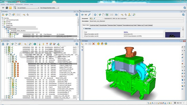 A potential scenario: The employee has a drive unit displayed in the 3D viewer of the SAP ECTR user interface and sees at a glance which release status individual components have due to the colored marking.